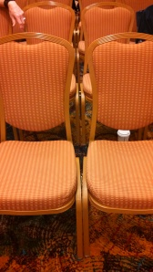 Locked-together conference room chairs